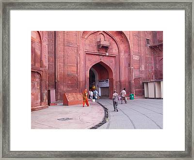 People Entering The Entrance Gate To The Red Colored Red Fort In New Delhi In India Framed Print