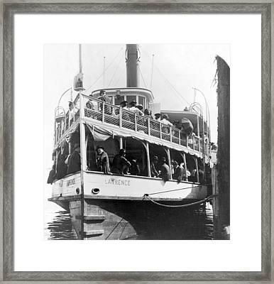 People Fleeing Galveston After Flood - September 1900 Framed Print