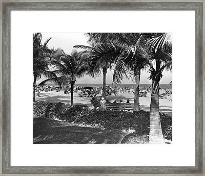 People On A Beach Framed Print by George Marks