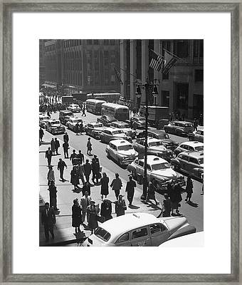 People On Busy City Street W/traffic Framed Print by George Marks