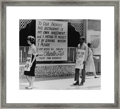 People Picketing Outside An Atlanta Framed Print
