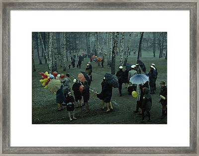 People Strolling Through A Park Framed Print by George F. Mobley