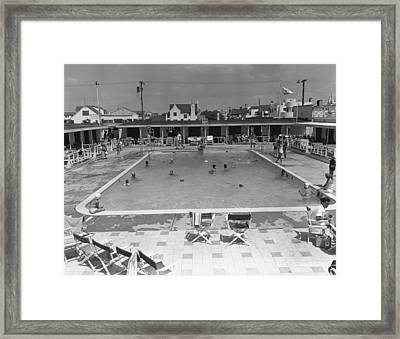 People Swimming In Pool, (b&w), Elevated View Framed Print by George Marks