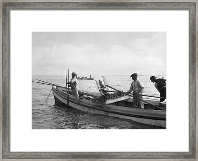 People Tonging Oysters Near Nanticoke Framed Print by Jacob Gayer