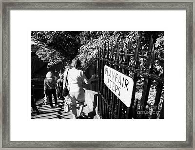People Walking Down The Playfair Steps Down Into Princes Street Gardens Edinburgh Scotland Uk United Framed Print by Joe Fox