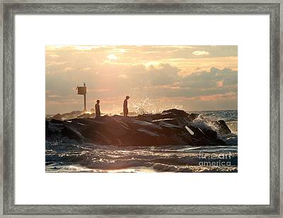 People Walking On New Buffalo Michigan Breakwater Framed Print by Christopher Purcell