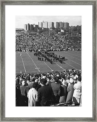People Watching Sport Competition, (b&w), Elevated View Framed Print by George Marks