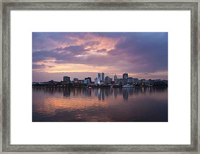 Peoria Skyline Framed Print by Straublund Photography