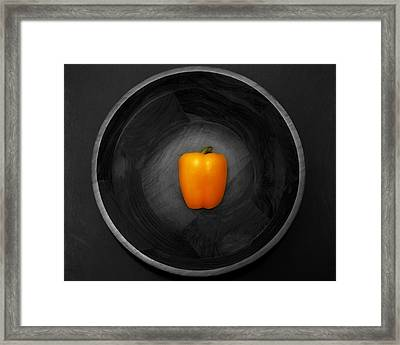 Pepper In Bowl Framed Print by Obi Martinez