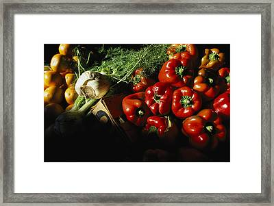 Peppers, Oranges And Fennel Fill Bins Framed Print