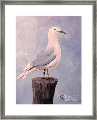 Framed Print featuring the painting Perched Seagull by Gretchen Allen