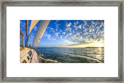 Perfect Evening Sailing On The Charleston Harbor Framed Print