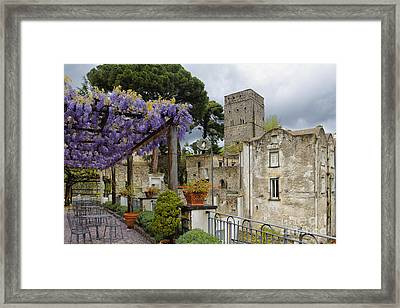 Pergola And Blooming Wisteria Framed Print