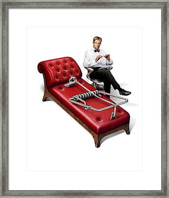Perils Of Psychotherapy, Conceptual Image Framed Print