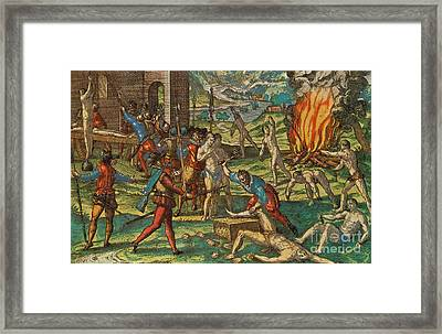 Persecution Of Native American Indians Framed Print by Photo Researchers
