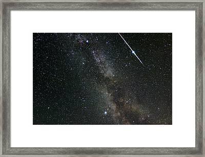 Perseid Meteor Shower, Meteor Track Framed Print