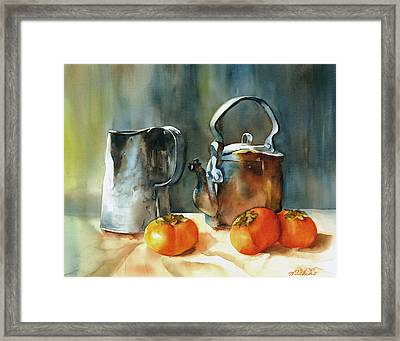 Persimmons Framed Print by Michiko Taylor