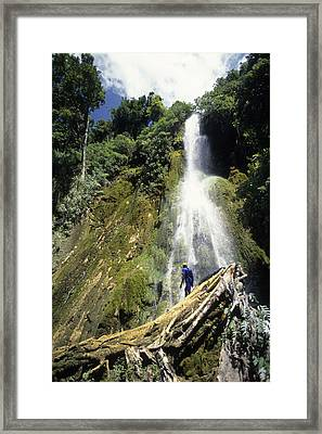 Person At Base Of Mele Cascades Waterfall, Near Mele Maat, Efate Island, Shefa, Vanuatu, Pacific Framed Print by Holger Leue