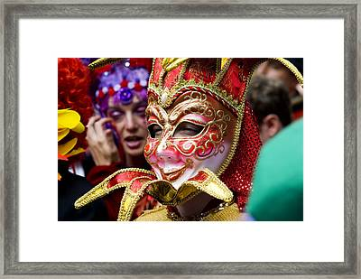 Person In Venetian Mask, New Orleans Mardi Gras Framed Print by Ray Laskowitz