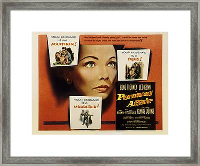 Personal Affair, Gene Tierney, 1953 Framed Print by Everett