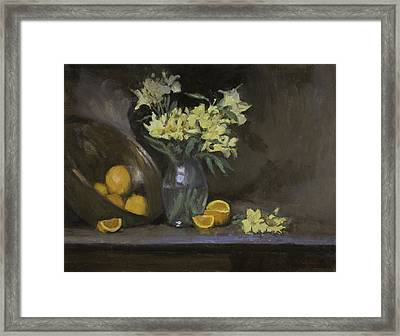Peruvian Lilies With Oranges Framed Print by Walter Lynn Mosley