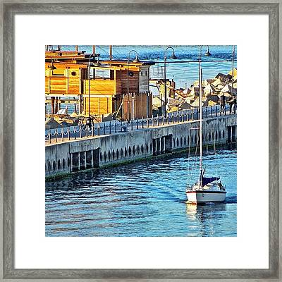 Pescara River And Sea Framed Print