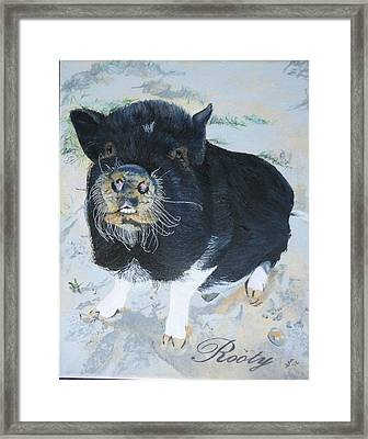 Pet Portrait Memorial Black Pot Bellied Pig Made To Order 3 Inch X 4 Inch With Free Easel  Framed Print by Shannon Ivins