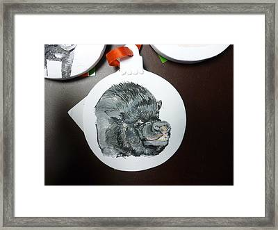 Pet Portrait Memorial Ornament Hand Painted And Made To Order By Pigatopia Framed Print by Shannon Ivins