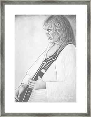 Peter Frampton Black And White Framed Print by Denise Haddock