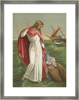 Peter Walking On The Sea Framed Print by English School