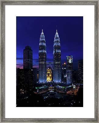 Petronas Towers In Kl Malaysia At Twilight. Framed Print