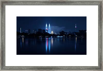 Petronas Towers Taken From Lake Titiwangsa In Kl Malaysia. Framed Print