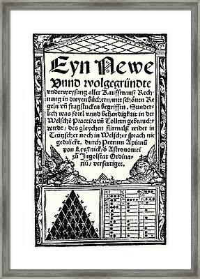 Petrus Apianus's Pascal's Triangle, 1527 Framed Print by