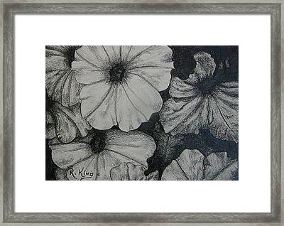 Framed Print featuring the drawing Petunia's In The Sun by Roena King