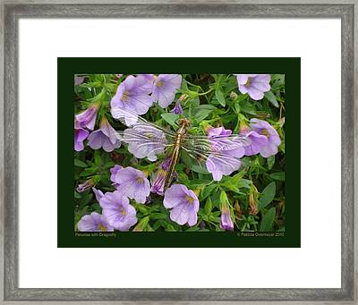 Framed Print featuring the photograph Petunias With Dragonfly by Patricia Overmoyer