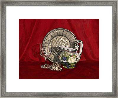 Framed Print featuring the painting Pewter Dish With Red Cloth. by Raffaella Lunelli