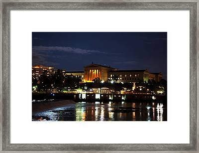 Philadelphia Art Museum And Waterworks All Lit Up Framed Print by Bill Cannon