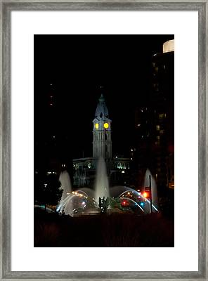 Philadelphia City Hall And Swann Fountain At Night Framed Print