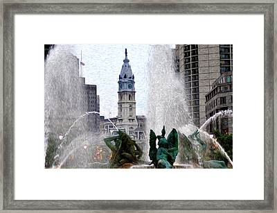 Philadelphia Fountain Framed Print by Bill Cannon