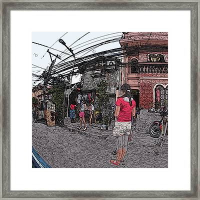 Philippines 1684 Girls Playing On Sidewalk Framed Print