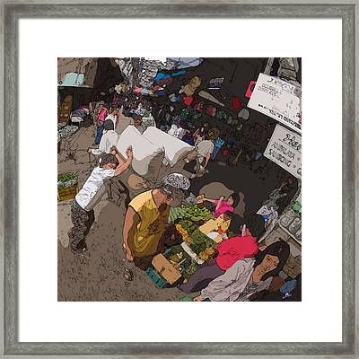 Philippines 2973 Busy Marketplace Framed Print by Rolf Bertram