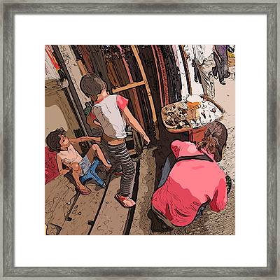 Philippines 2974 Mom With Two Kids In Market Framed Print