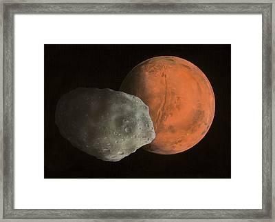Phobos And Mars, Artwork Framed Print by Richard Bizley