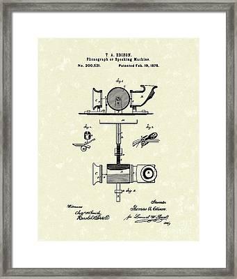 Phonograph 1878 Patent Art  Framed Print by Prior Art Design