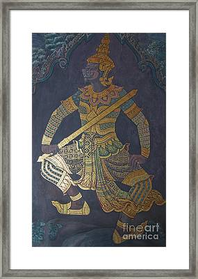 photo of art painting on Thai temple wall Framed Print by Komkrit Muanchan