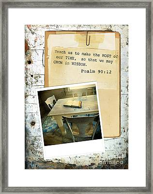 Photo Of Bible On Table With Scripture Verse Framed Print by Jill Battaglia
