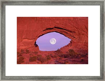 Photographer At Window At Arches National Park Framed Print