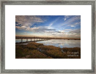 Photographers On Bridge At Sunset Framed Print