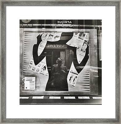 Photographers Reflection In A Cut-out Framed Print