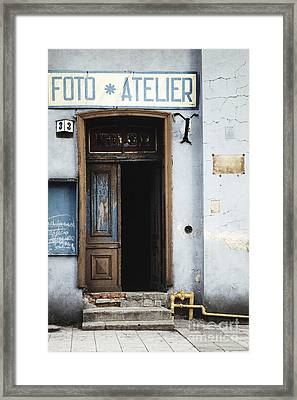 Framed Print featuring the photograph Photography Studio Entrance by Agnieszka Kubica